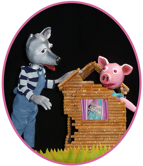 wolf and pig with pretzel stick house
